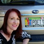 Alice Osborn Poet license plate selfie