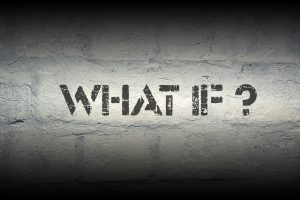 what if question stencil print wall